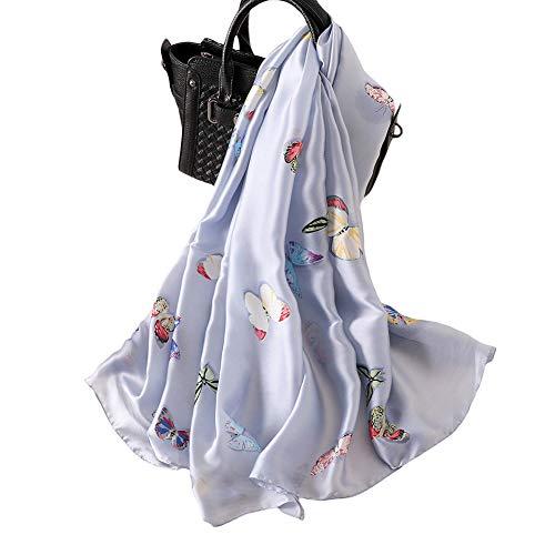 - 100% Silk Scarf - Women's Fashion Large Sunscreen Shawls Wraps - Lightweight Floral Pattern Satin for Headscarf&Neck (Butterfly-Light purple)