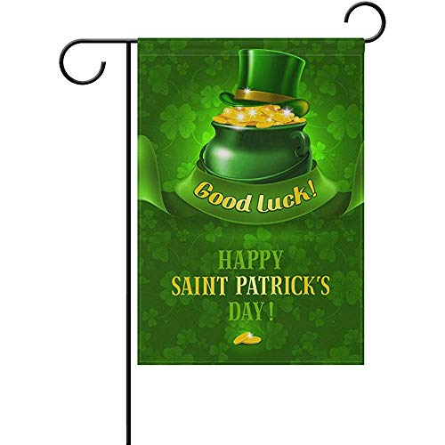 Yunnstrou Double Sided Garden Flag Happy St. Patrick's Day Good Luck Green Pot Garden Flag Best for Party Yard and Home Outdoor Decor - 12x18 inches ()