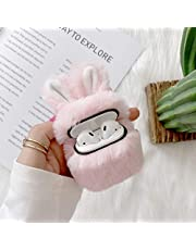 Ogmuk Women Girls Fluffy Furry Case for Airpods 1&2,Cute 3D Cartoon Bunny Ears Design Soft Rabbit Fur Fun Cool Warm Winter Carrying Headphones Cover for Airpods 1&2,Pink