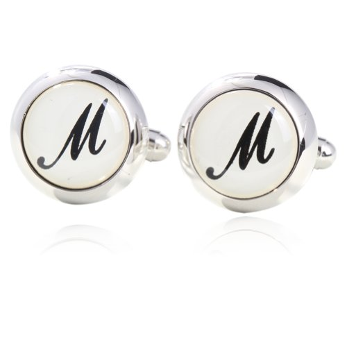 Initial M Printed Cufflinks 18K Platinum Plated Gift Boxed By Digabi (Platinum Cufflinks compare prices)