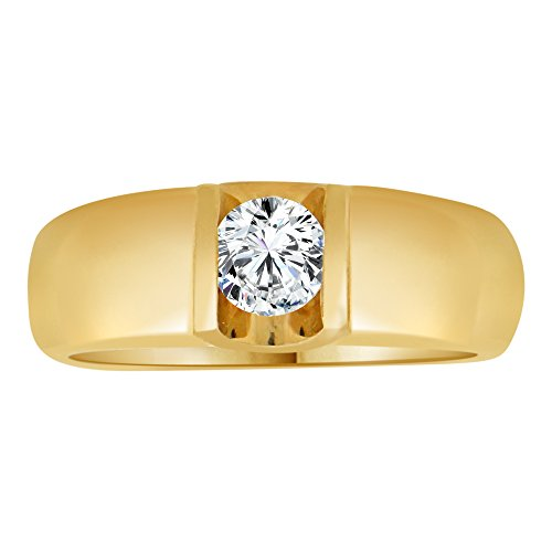 Tension Set Yellow Ring (14k Yellow Gold, Tension Set Solitaire Modern Band Ring Round Created CZ Crystal 0.35ct Size 8)