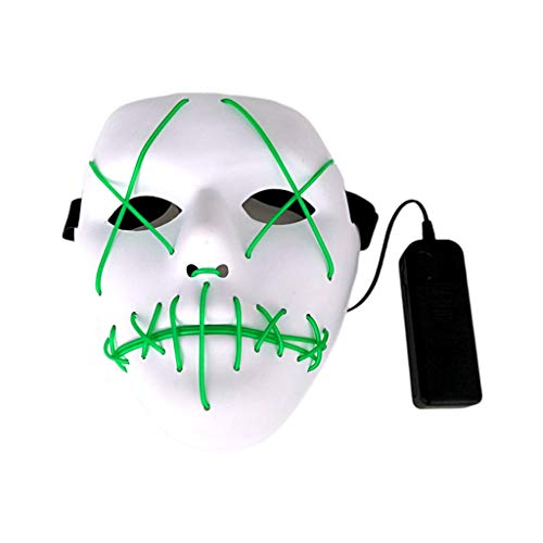 Halloween Scary LED Mask Cosplay Led Costume Mask EL Wire Light up for Halloween, Festival Party,Dance Ball, Rave Cosplay (Green) ()