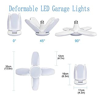 LED Garage Lights 2 Pack, Tribright Garage Ceiling Lighting 6000LM, 60W E26 / E27 Daylight Lamp with 4 Adjustable Panels for Garage, Workshop, Warehouse, Workbench, Barn, Warehouse, Shop, Basement