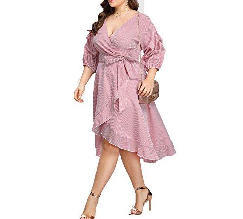 Letters-from-Iceland Pink Plus Size Striped Dress V Neck Women Dress Lantern Sleeve Ruffle Trim Pinstripe -