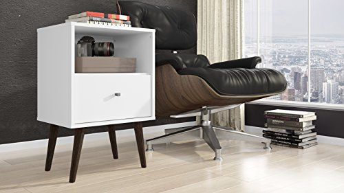 Bedroom Manhattan Comfort Liberty Collection Mid Century Modern Nightstand With One Open Shelf and One Drawer, Splayed Legs… modern bedroom furniture