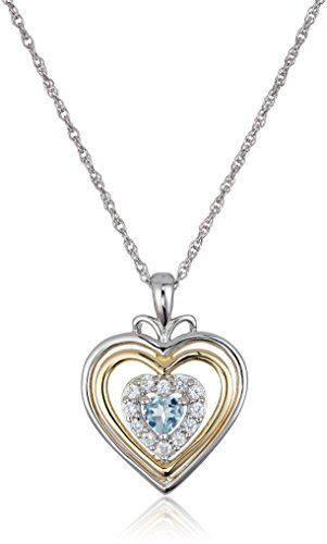 Sterling Silver Hearts and 14k Yellow Gold Plated Aquamarine and Lab Created White Sapphire with Rope Chain Pendant Necklace, 18
