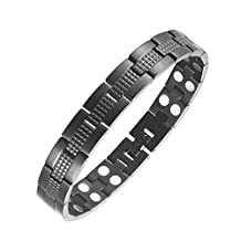 100% Titanium Black Magnetic Energy Germanium Dubble Row Power Magnetic Health Bracelet 4in1 Bio Armband