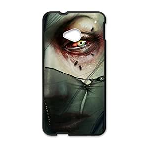 Personalized protective cell phone case for HTC M7,scary woman bloody eyes design