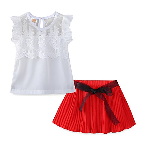 Mud Kingdom Little Girls Outfits with Skirts Chiffon Summer Sets Size 7 Red by Mud Kingdom