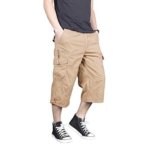 Menargo 3/4 Men's Elastic Twill Loose Fit Outdoor Cargo Pants Casual Capri Long Shorts(Khaki 2XL)