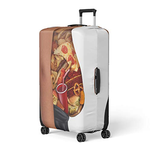 Pinbeam Luggage Cover Child Eating Unhealthy Diet As Side View Travel Suitcase Cover Protector Baggage Case Fits 18-22 inches (Best Diet For Morbidly Obese)
