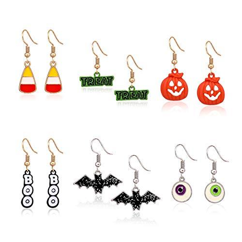 Halloween Candy Bats (XOCARTIGE 6 Pairs Halloween Hook Earrings Set Pumpkin Bat Boo Dangle Earrings Gift Jewelry Set for Girls (C Pumpkin)