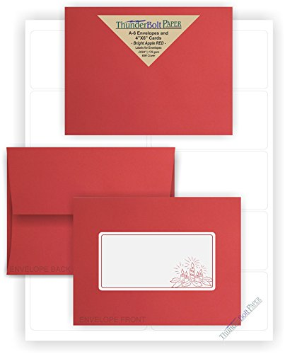 A-6 Envelopes -Bright Apple Red - 25 Sets - White Labels for Envelopes - Matching Pack - Invitations, Greeting, Thank You, Notes, Holidays, Weddings, Birthdays, Announcements ()