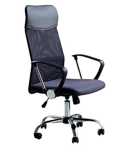 Office Desk Chair Mesh High Back With Arms PU Headrest Ergonomic Design Height Adjustable Computer Chair Dark Grey by IDS Home