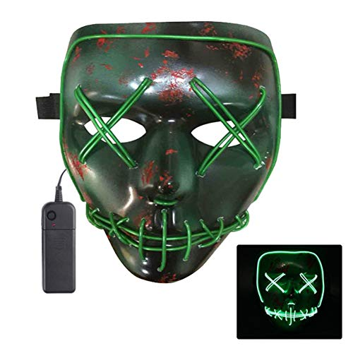 Oun Nana Light Up Mask Halloween Cosplay LED Scary EL Wire Purge Mask for Festival Parties(Green) -