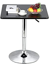 Topeakmart Modern Black Square Pedestal Table.