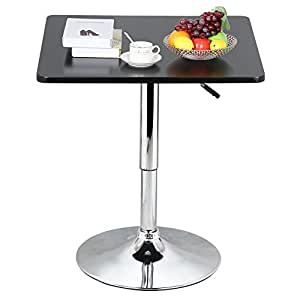 World pride modern black square pedestal table 360 swivel adjustable height cocktail Home bar furniture amazon