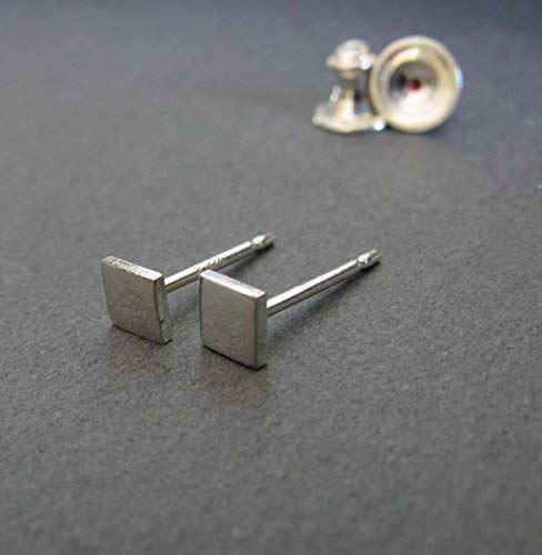 Tiny smooth square polished sterling silver stud earrings. Minimalist jewelry handmade in the USA ()