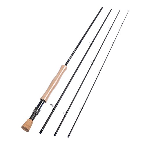 Goture 4-Piece 9 Feet Graphite Fly Fishing Rod, Ceramics Guides and 30T Carbon Fiber Blanks and Chromed Stainless Steel Snake Guides (Size:8WT) (3 5wt Piece)