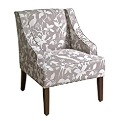 Farmhouse Accent Chairs HomePop by Kinfine Fabric Upholstered Chair – Swoop Arm Accent Chair, Grey Floral Tree Pattern farmhouse accent chairs