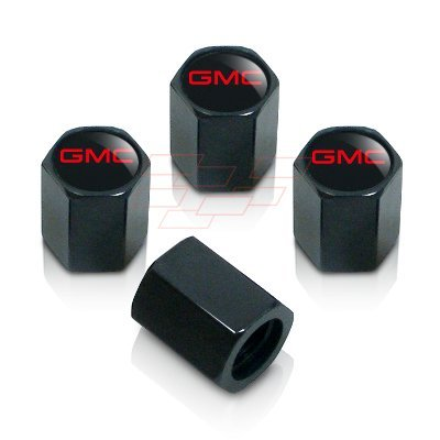 Logo Red Valve Tire Stem (GMC Red Logo Black Tire Stem Valve Caps)