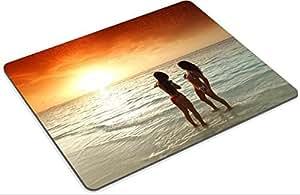 Mousepad Two beautiful women in bikini enjoying sunset on beach Photo 16380941 Low Friction Tracking Surface LOL Dota 2 WOW