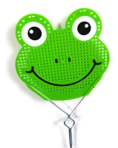(Essentials Fly Swatter Killer and Bug Long Metal Handle ( 19 inch ) Hand Swatters for Flies Metal Handle Fly Swatter (Green frog))