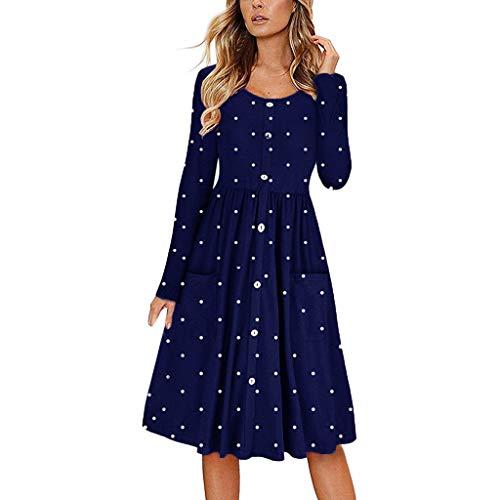 Sharemen Womens Long Sleeve Pleated Polka Dot Print Swing Casual Midi Dress with Pockets (Navy,L)