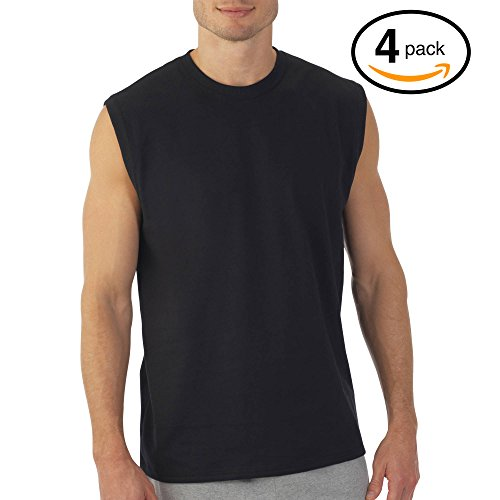 Hanes Men's Sport Cool Dri Sleeveless T-Shirt 4-Pack (Black Muscle Crew, XX-Large)