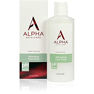 Alpha Skin Care Refreshing Face Wash | Anti-Aging Formula | Citric Alpha Hydroxy Acid (AHA) | Gently Cleanses, Purifies, Tones & Restores Ideal PH | For All Skin Types | 6 Fl Oz