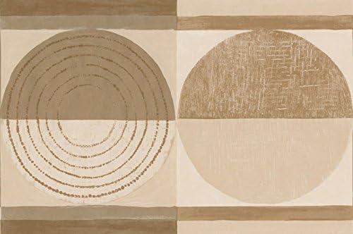"""ベージュブラウン抽象壁紙ボーダーペイントサークルデザインロール15 'x 7 """""""