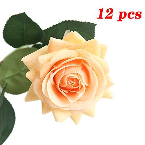 JOEJISN Artificial Flower Roses Fake Roses 12pcs Real Touch Artificial Roses Silk Artificial Roses Long Stem Bridal Wedding Bouquet for Home Garden Office Wedding Decorations (Light Orange)