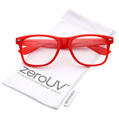 zeroUV - Retro Wide Arm Square Clear Lens Horn Rimmed Eyeglasses 54mm (Candy-Red / - Red Glasses Rimmed