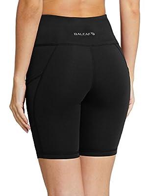 "Baleaf Women's 8"" / 5"" High Waist Workout Yoga Shorts Tummy Control Side Pockets"
