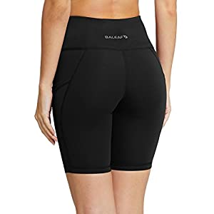 "Baleaf Women's 8"" High Waist Tummy Control Workout Yoga Shorts Side Pockets Black Size XL"