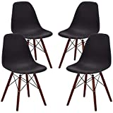 Phoenix Home Kenitra Contemporary Plastic Dining Chair, Matte Black, Set of 4