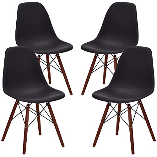 Phoenix Home Kenitra Contemporary Plastic Dining Chair, Matte Black, Set of 4 (Chair Mid Wire Century)