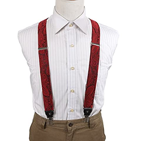 EFBB0011 Red Black Patterned Microfiber Y-Back Suspenders Stainless Steel Clip Certificate Style By Epoint