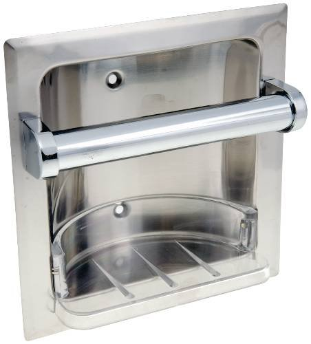 Recessed Soap Dish (National Brand Alternative 555945 Recessed Soap Dish with Grab Bar, Chrome Finish)