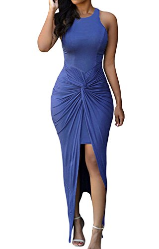 Sexy Womens Sleeveless Hig Low Knotted Slit Party Club Dress (M, Blue)