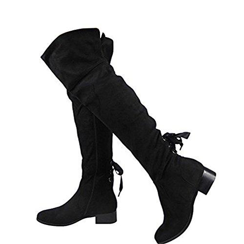 Damen Schenkel Hoch Niedrig Hacke Spitze oben Wohnung Stiefel Größe 36-41 Schwarz
