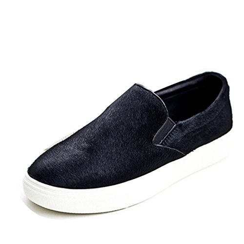 Fashion Women Slip On Sneakers Fabric Pumps Plimsolls Trainers Flats Shoes Casual Loafers Black u4n7p1nQ4