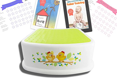 Step Up Stool for Children Anti-Slip Top and Bottom Hygienic FREE Potty Training and Safety eBook and Potty Training Chart Boy or Girl Perfect Height for Toddler Toilet Training Kids Bathroom Kitchen (Mickey Mouse Chair And Ottoman)