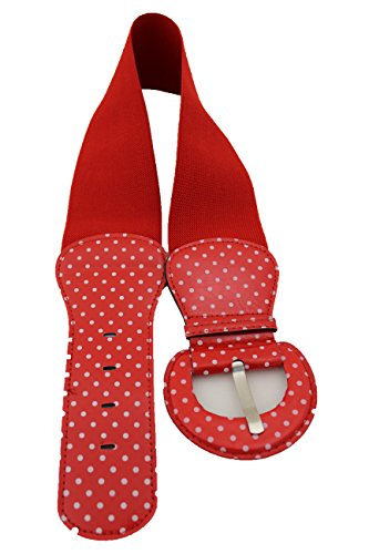 TFJ Women Fashion Red Belt Elastic Hip Waist Stretch Fabric Size S M White Polka Dots
