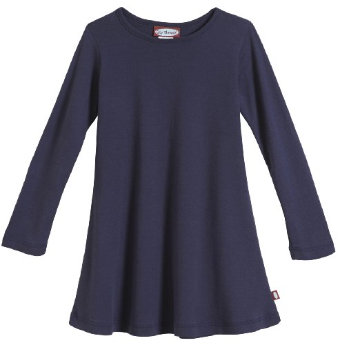 City Threads Big Girls' Cotton Long Sleeve Dress for School or Play for Sensitive Skin SPD Sensory Friendly, Navy, (Play Chick)