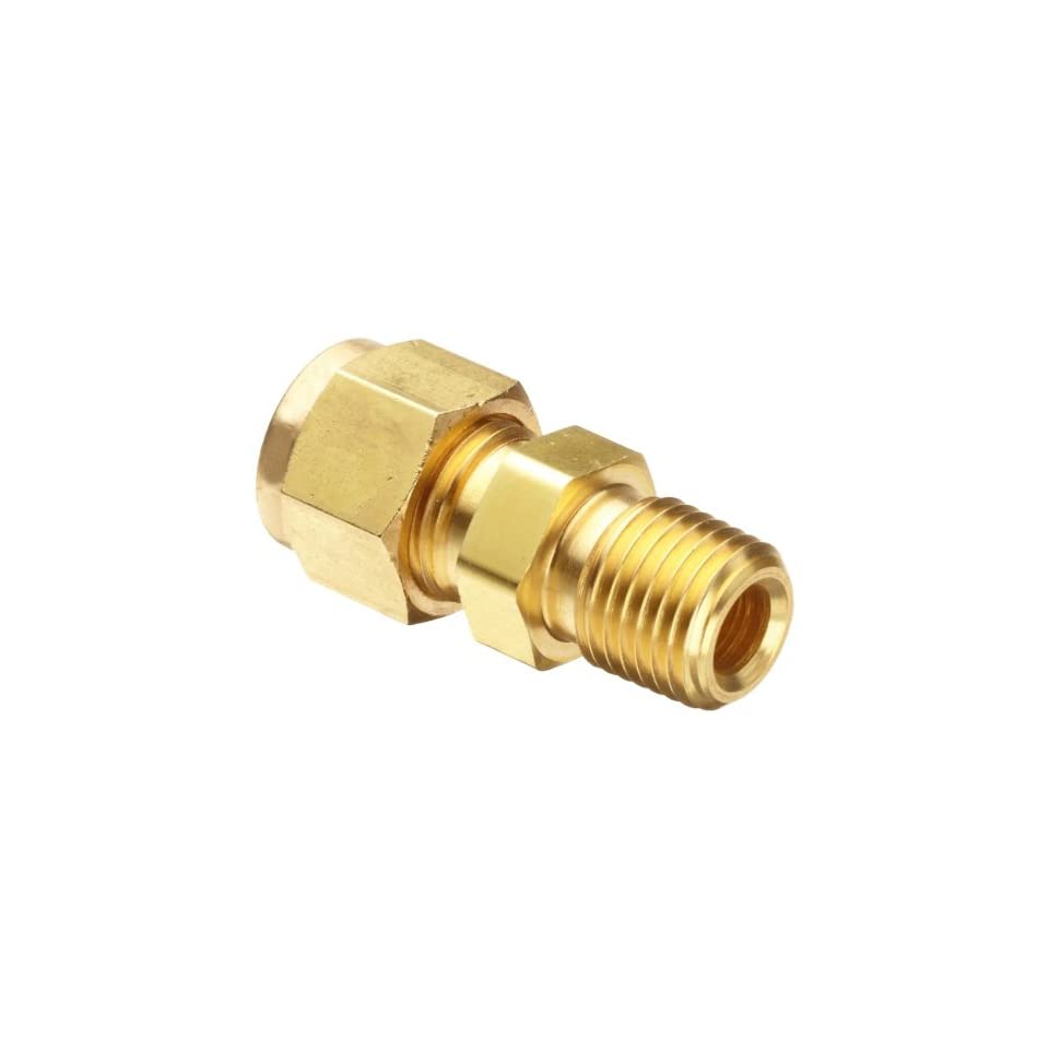 Parker CPI 6 6 FBZ B Brass Compression Tube Fitting, Adapter, 3/8 Tube OD x 3/8 NPT Male
