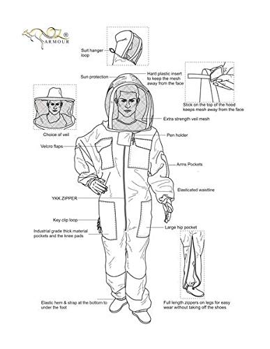 OZ ARMOUR Beekeeping Suit Ventilated ULTRA COOL Three Layer Mesh with Fencing Veil & Round Brim Hat by Oz Armour (Image #1)