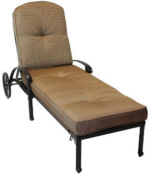 Nassau Cast Aluminum Powder Coated Set of 2 Single Chaise Lounge with Walnut Seat Cushions - Antique Bronze