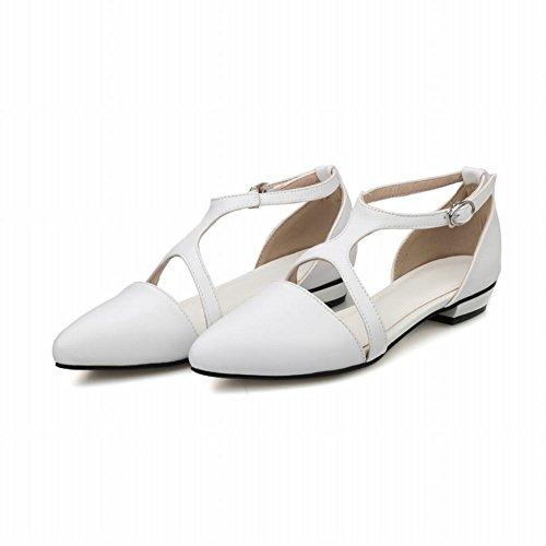Carol Shoes mit niedrigem in im Sandalen Westernstil Strap niedrigem T Damen und Absatz Weiß Absatz rrwdPBqA