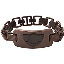 Diesel DX0554 Men's Military Logo Brown and Black Ion Plated Stainless Steel Bracelet
